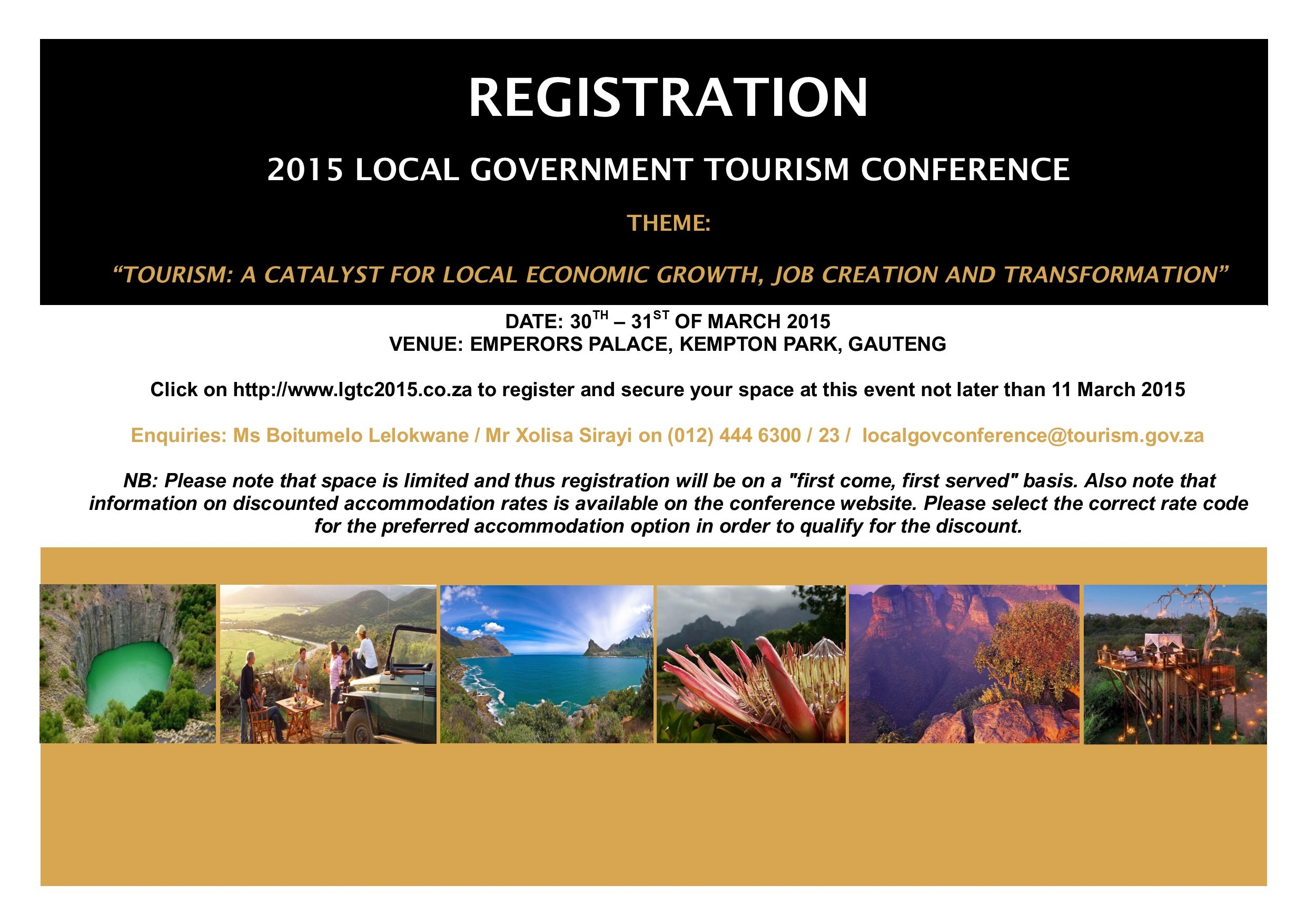 Please register for the Local Government Tourism Conference - detail below.